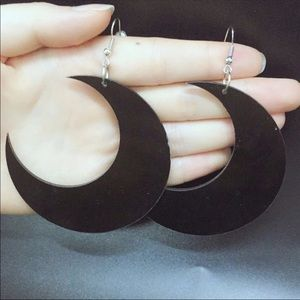 Jewelry - Black Witch Acrylic Moon Earrings Statement New